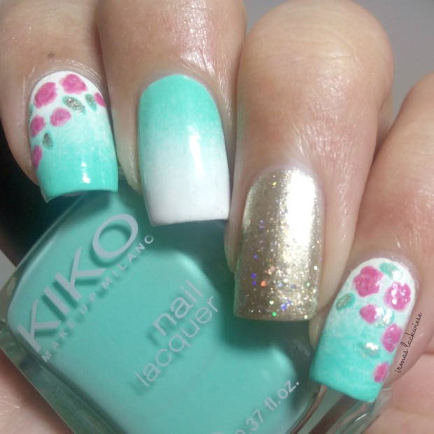 nailart mint milk with gradient gold and roses (1)