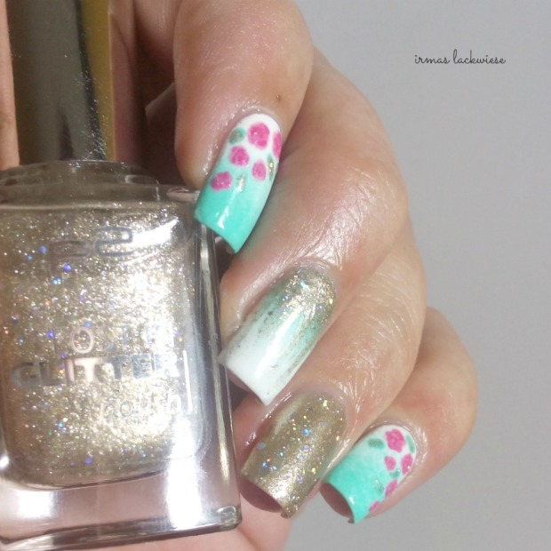 nailart mint milk with gradient gold and roses (10)