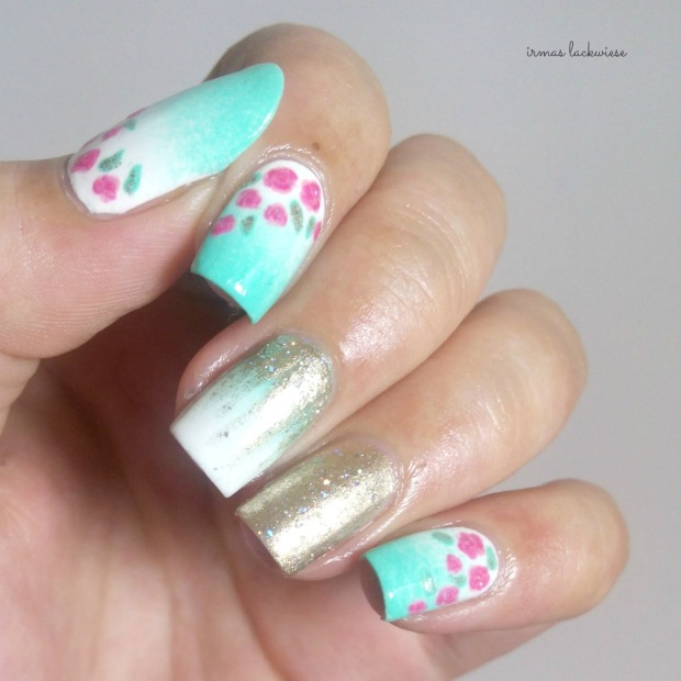 nailart mint milk with gradient gold and roses (11)