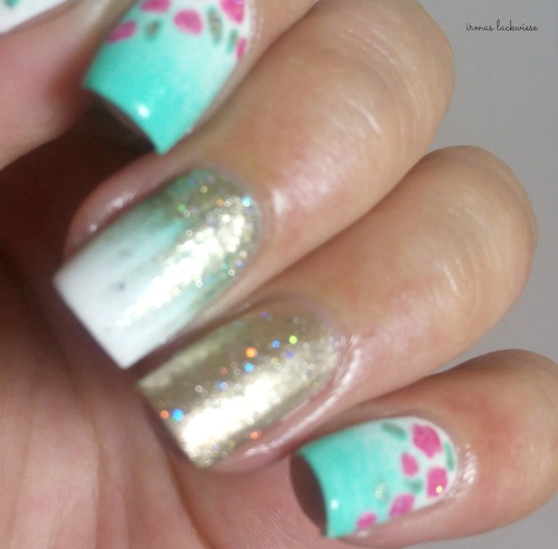 nailart mint milk with gradient gold and roses (12)