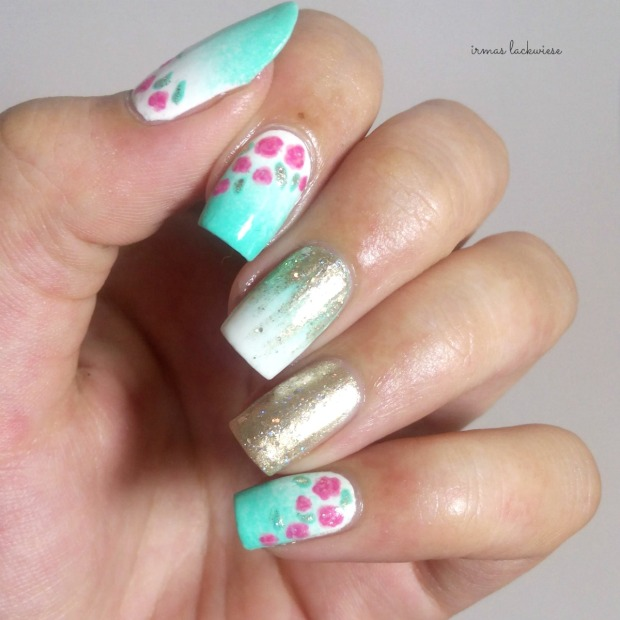 nailart mint milk with gradient gold and roses (13)