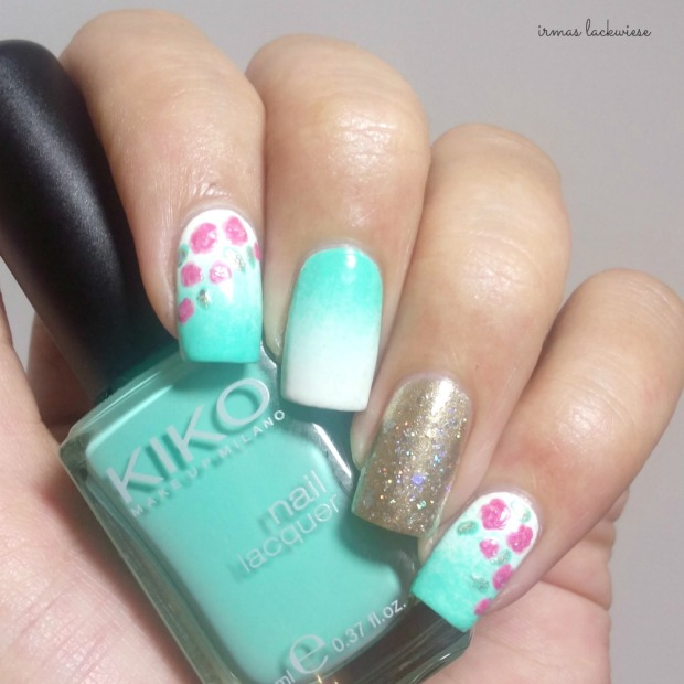 nailart mint milk with gradient gold and roses (2)