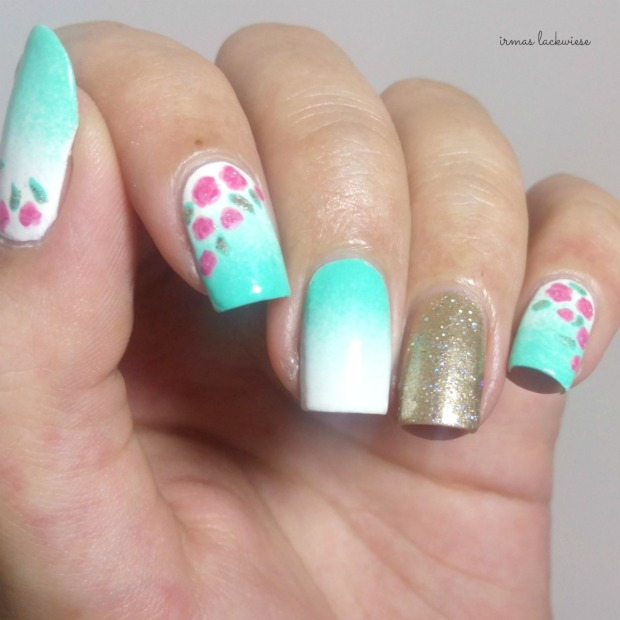 nailart mint milk with gradient gold and roses (5)