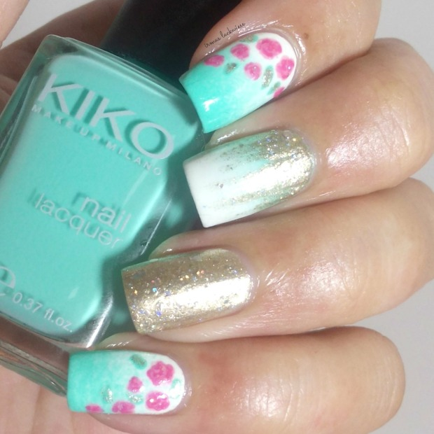 nailart mint milk with gradient gold and roses (7)