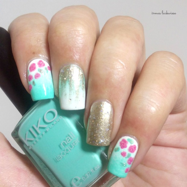 nailart mint milk with gradient gold and roses (8)