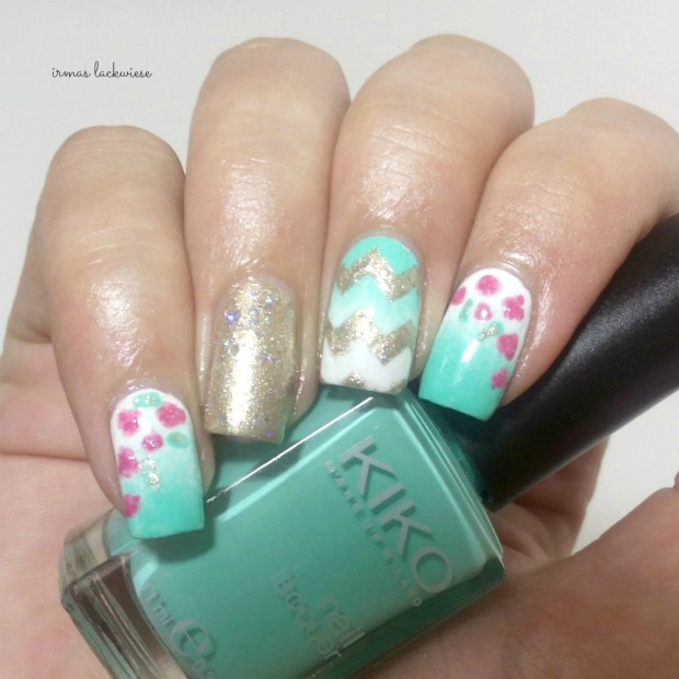 nailart mint milk with gradient gold and roses (9)