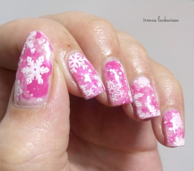 pink smoky nails (10) + moyou snowflake stamping