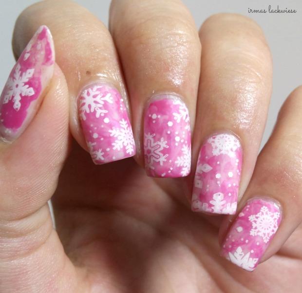 pink smoky nails (12) + moyou snowflake stamping