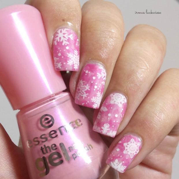 pink smoky nails (14) + moyou snowflake stamping