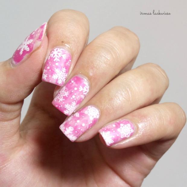 pink smoky nails (15) + moyou snowflake stamping