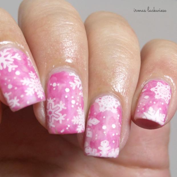 pink smoky nails (16) + moyou snowflake stamping