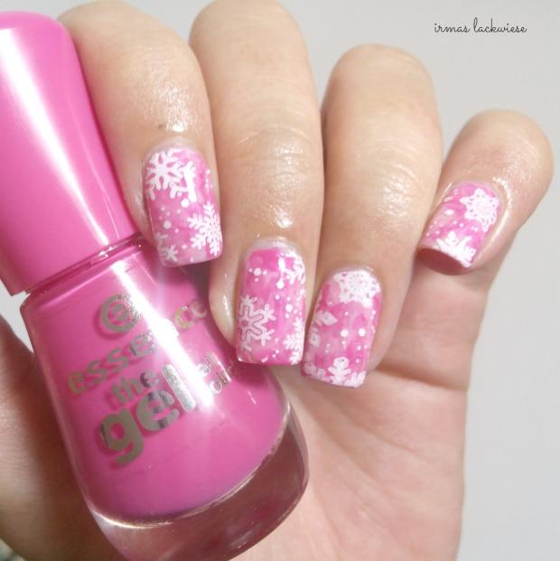 pink smoky nails (6) + moyou snowflake stamping