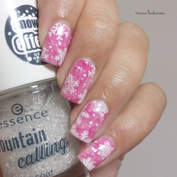 pink smoky nails (8) + moyou snowflake stamping