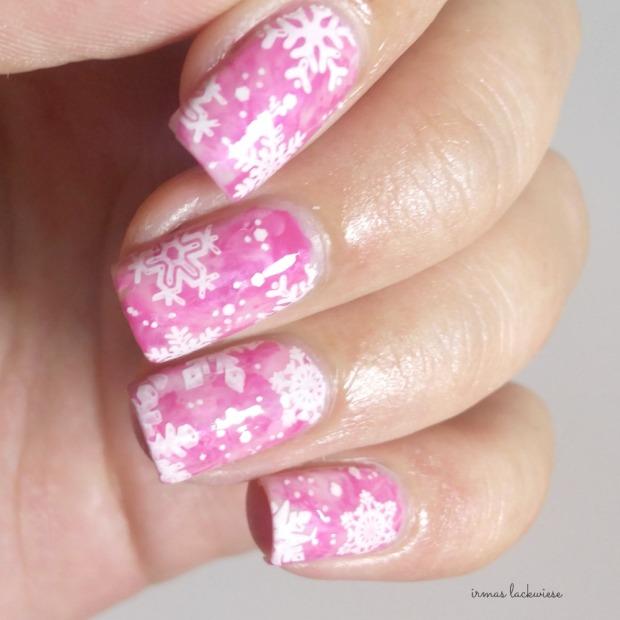 pink smoky nails (9) + moyou snowflake stamping