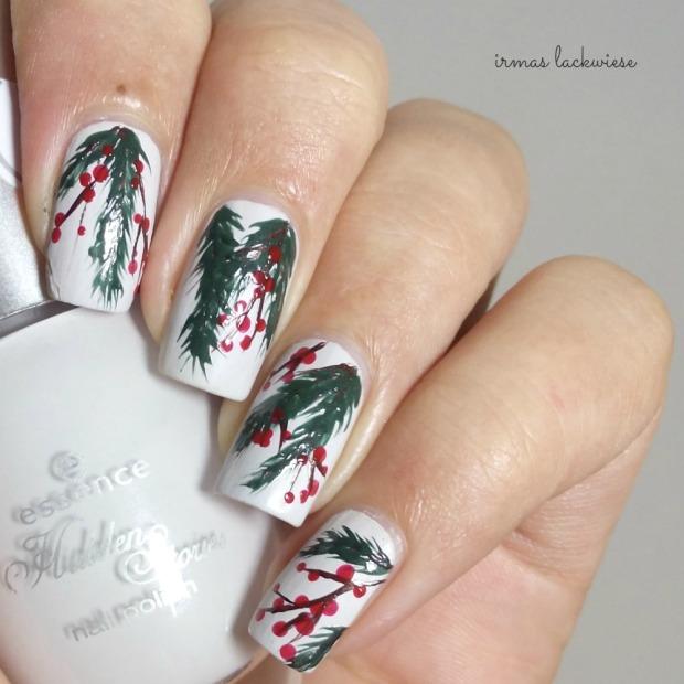 winter nail art mistletoe - (1)