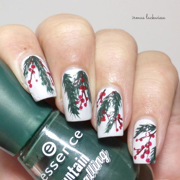 winter nail art mistletoe - (2)