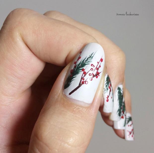 winter nail art mistletoe - (4)