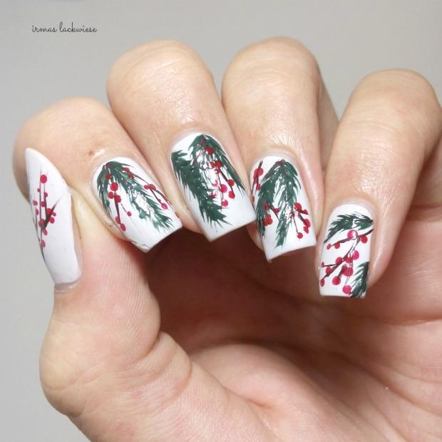 winter nail art mistletoe - (5)
