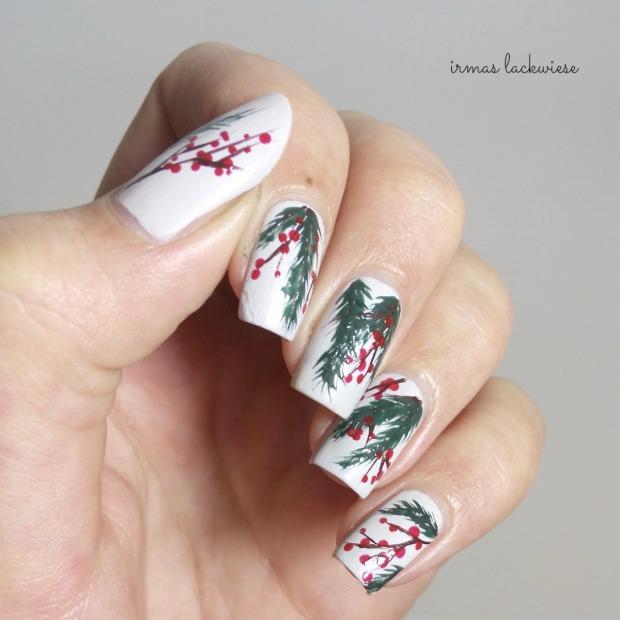 winter nail art mistletoe - (6)