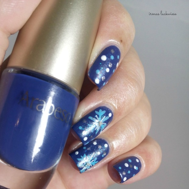 nailart blue snowflakes arabesque kobalt blue (7)