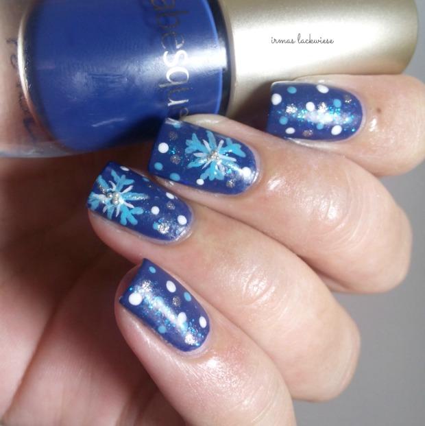 nailart blue snowflakes arabesque kobalt blue (8)