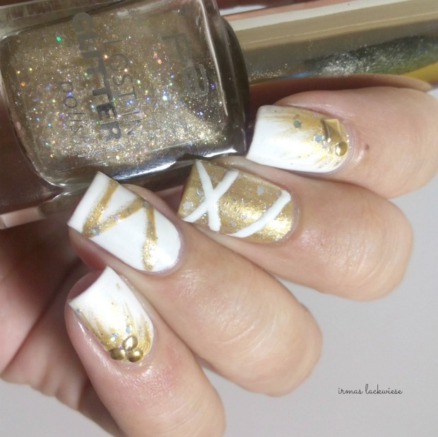 nailart silvester new years eve white and gold (2)