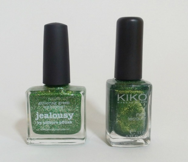 picture polish jealousy vs. kiko pearly golden green (9)