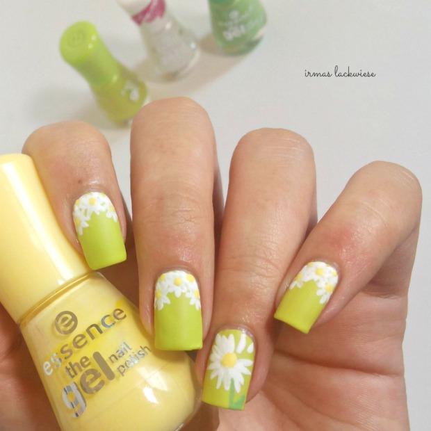 essence dont be shy + nailart daisies (8)