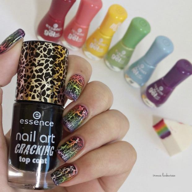 rainbow gradient nails + essence black crackle finish top coat (3)