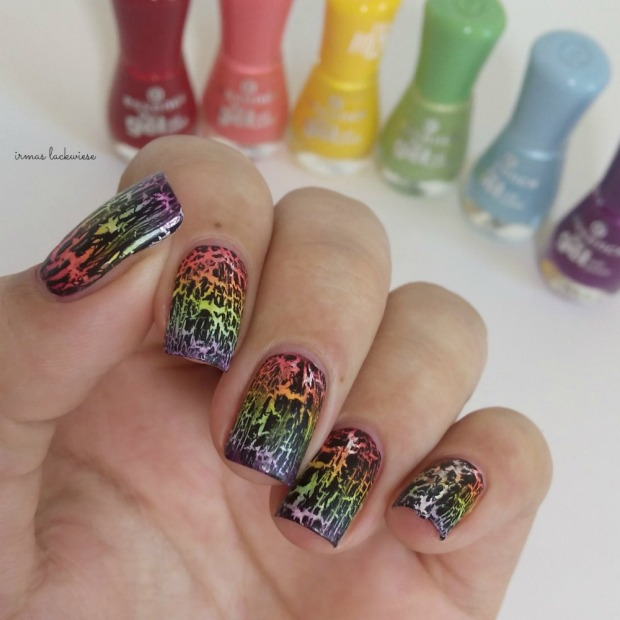rainbow gradient nails + essence black crackle finish top coat (4)