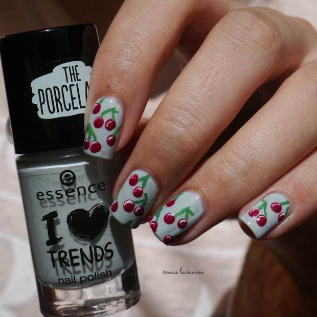 essence make up your mint + cherry nailart (10)