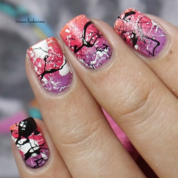 essence nothing but lovestoned + gradient + splatter nails(10)