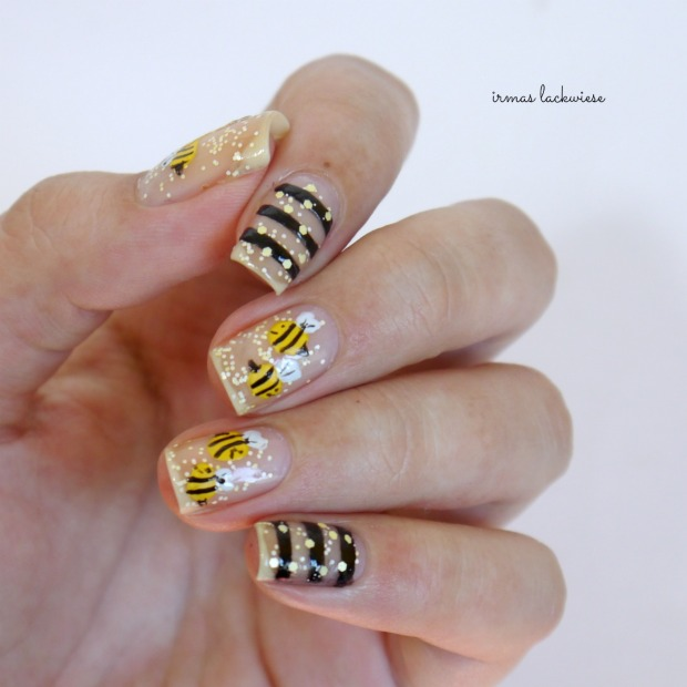 negative space bee nailart (13)