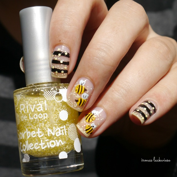 negative space bee nailart (6)
