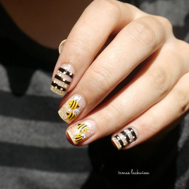 negative space bee nailart (7)