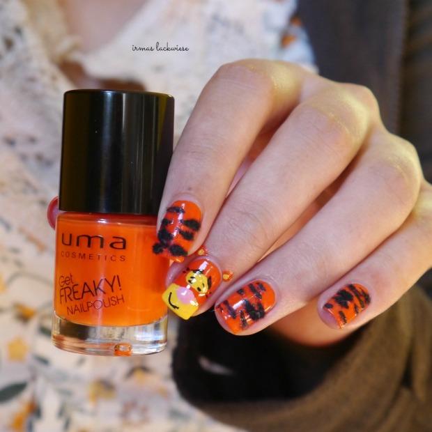 uma freaky orange + tigger nailart - winnieh pooh(6)