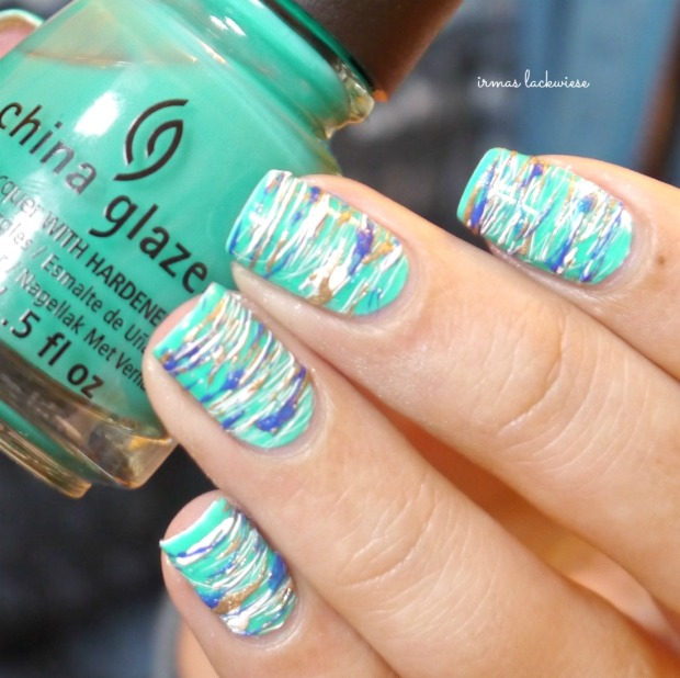 china glaze keepin it teal + sugar spun nailart (10)