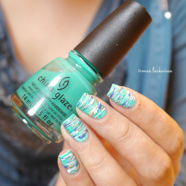 china glaze keepin it teal + sugar spun nailart (8)