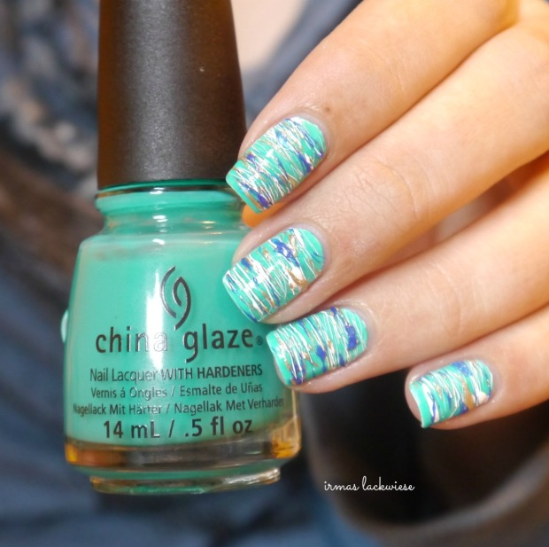 china glaze keepin it teal + sugar spun nailart (9)