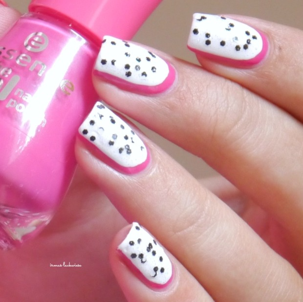 essence #lucky + dragonfruit nailart(10)