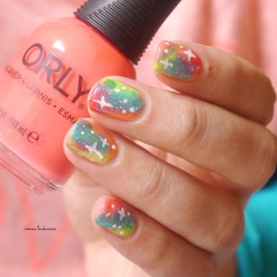 jolifin neon orange glitter + neon galaxy nails(10)