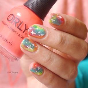 jolifin neon orange glitter + neon galaxy nails(10)