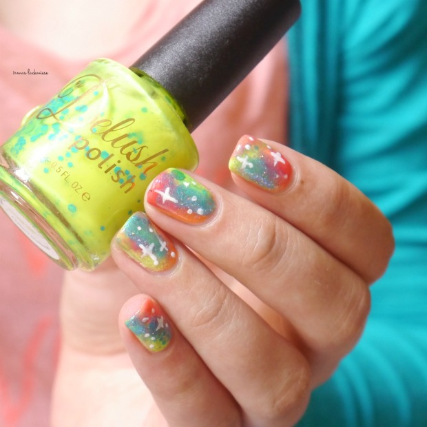 jolifin neon orange glitter + neon galaxy nails(11)