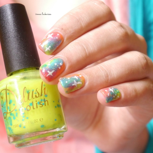 jolifin neon orange glitter + neon galaxy nails(12)
