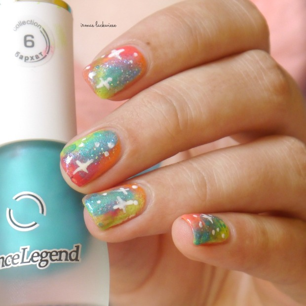 jolifin neon orange glitter + neon galaxy nails(15)