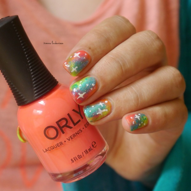 jolifin neon orange glitter + neon galaxy nails(17)