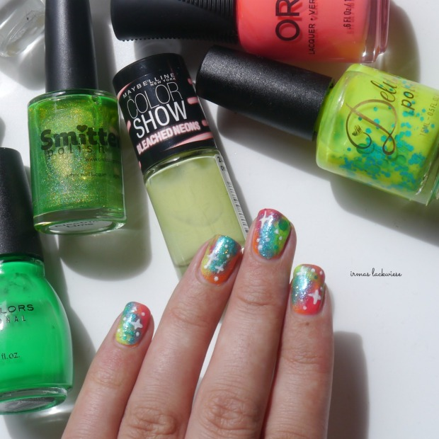 jolifin neon orange glitter + neon galaxy nails(19)