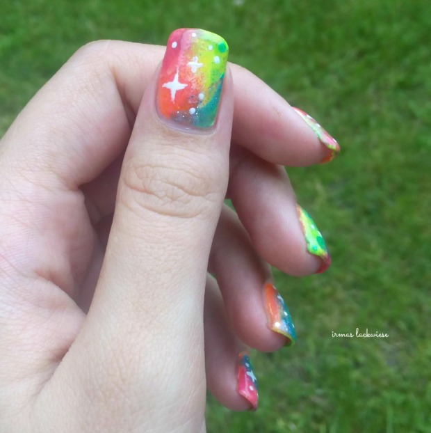 jolifin neon orange glitter + neon galaxy nails(20)