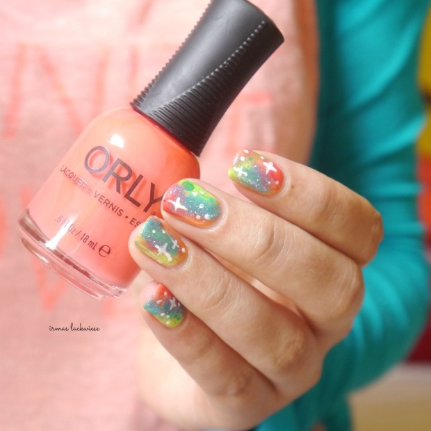 jolifin neon orange glitter + neon galaxy nails(9)