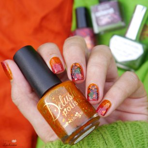 delush polish belle of winterfell + gradient + grape reverse stamping (3)